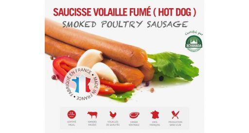 Saucisses de volailles fumées (hot-dog)